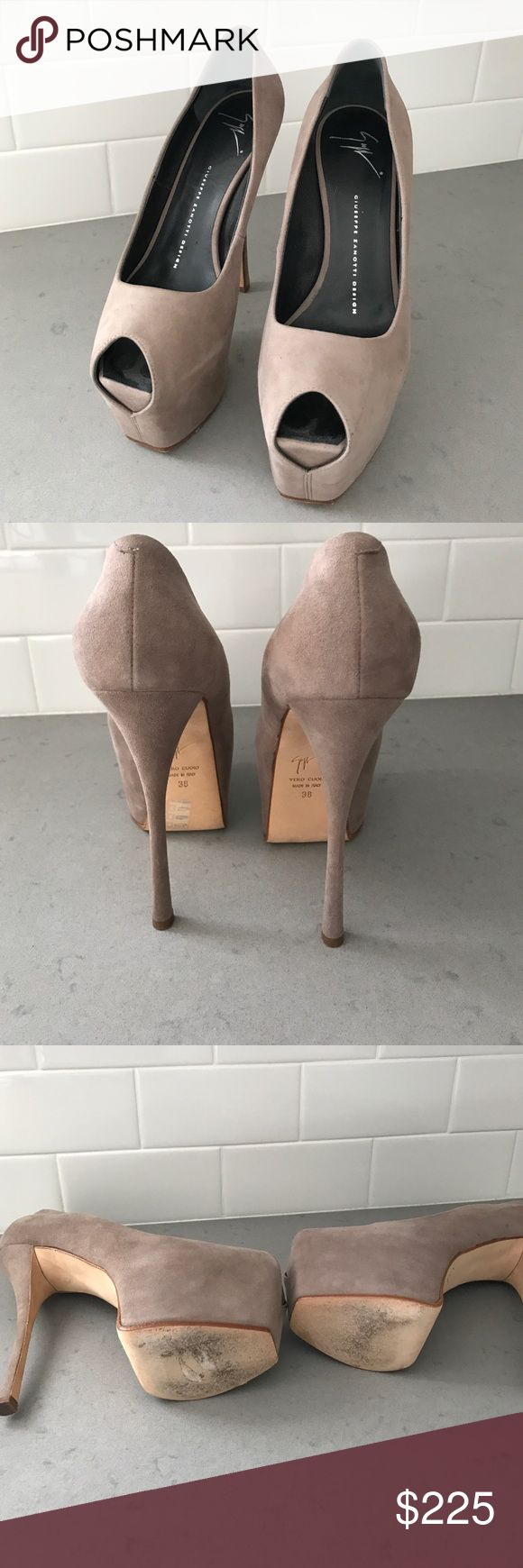 Giuseppe Zanotti Shoes Beautiful taupe suede platform peep toe heels. guiseppe zanotti Shoes Platforms