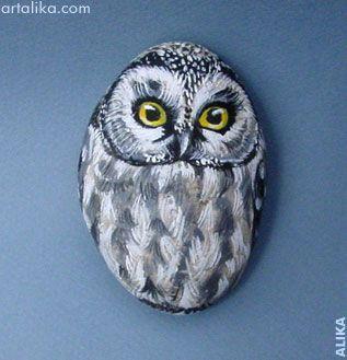 painted rocks: birds:Owl                                                                                                                                                                                 More