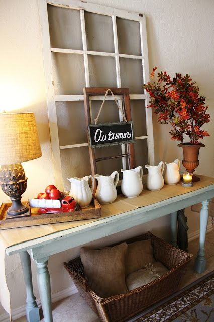 The Farmhouse Porch: Rustic and Simple Autumn Entryway