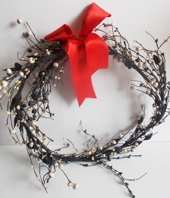 wreath in black and white wire wreath large with by mademeathens