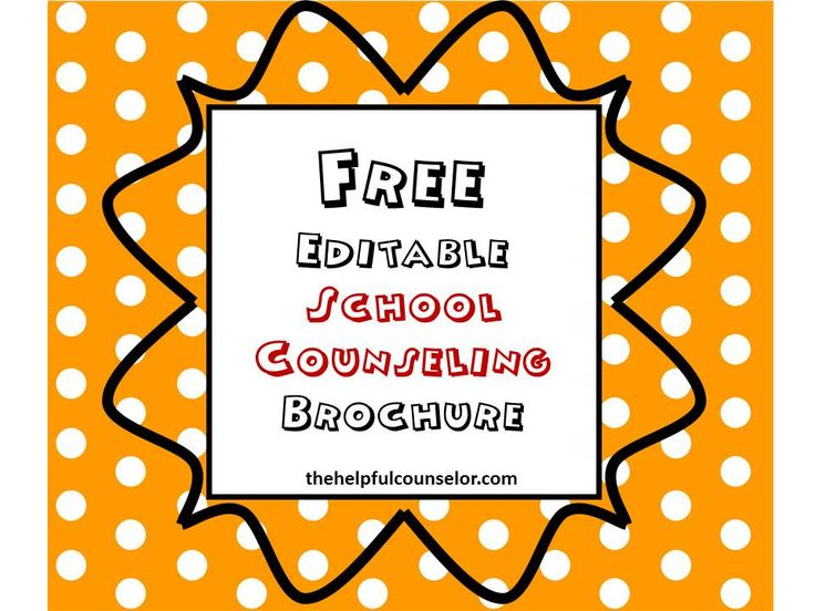 Free Editable Elementary Counseling Brochure #schoolcounseling