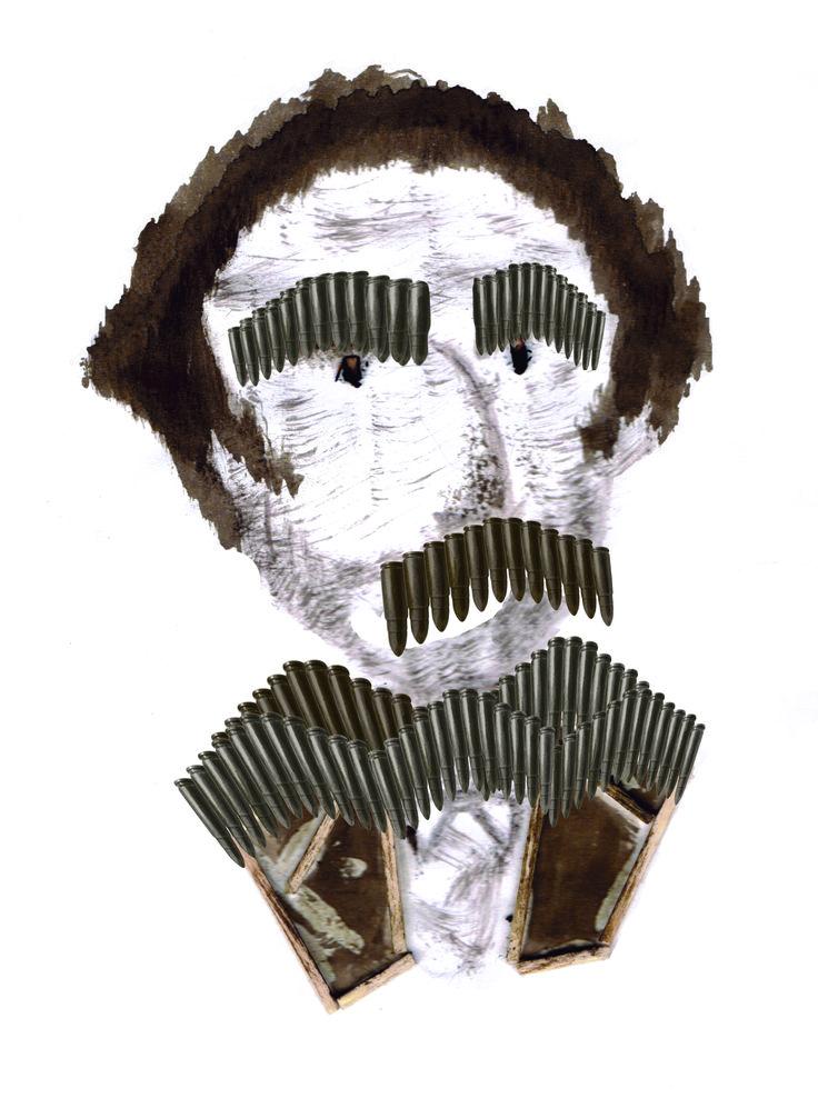 """Retratos - José Manuel Balmaceda 03 """"Bang bang"""" en tinta china diluida en agua, fósforos y balas antiguas."""