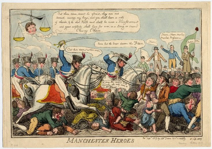 The Manchester Heroes. September 1819. Satirical print of the Peterloo massacre, in which the yeoman guard freaked out and killed a bunch of fairly peaceful people. Print shows men in uniform trampling children and babies and civilians while others look on in horror.
