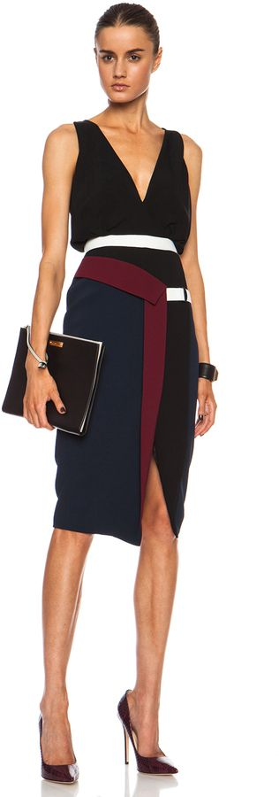 Peter Pilotto Nika Viscose-Blend Dress in Midnight Black | gorgeous color and lines