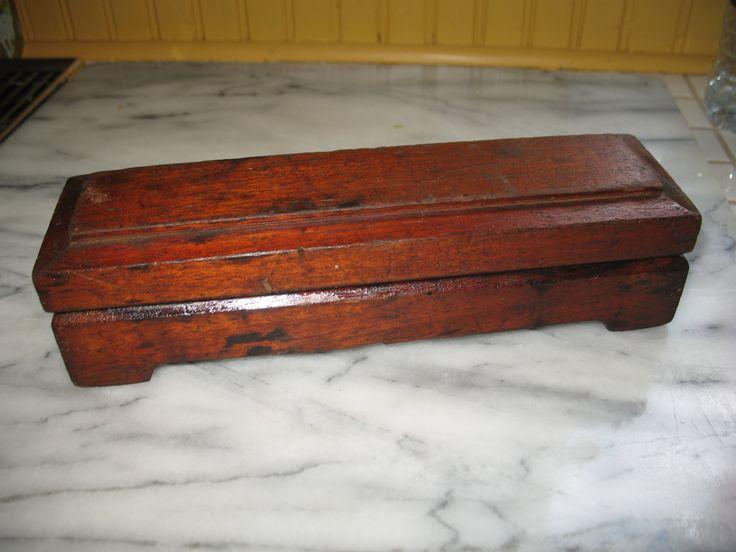 Vintage pierre a aiguiser a double face avec coque en bois primitif 1930/40 de la boutique NorDass sur Etsy
