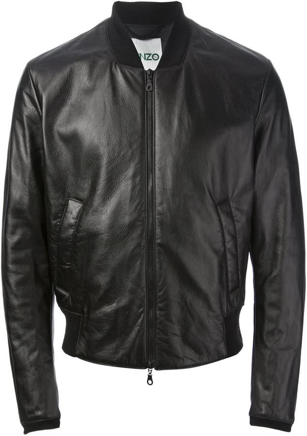 $1,203, Black Leather Bomber Jacket: Kenzo Monster Bomber Jacket. Sold by farfetch.com. Click for more info: https://lookastic.com/men/shop_items/69616/redirect