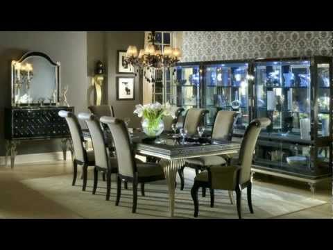 Aico Amini Hollywood Swank 9 Piece Leg Dining Table And Chair Set