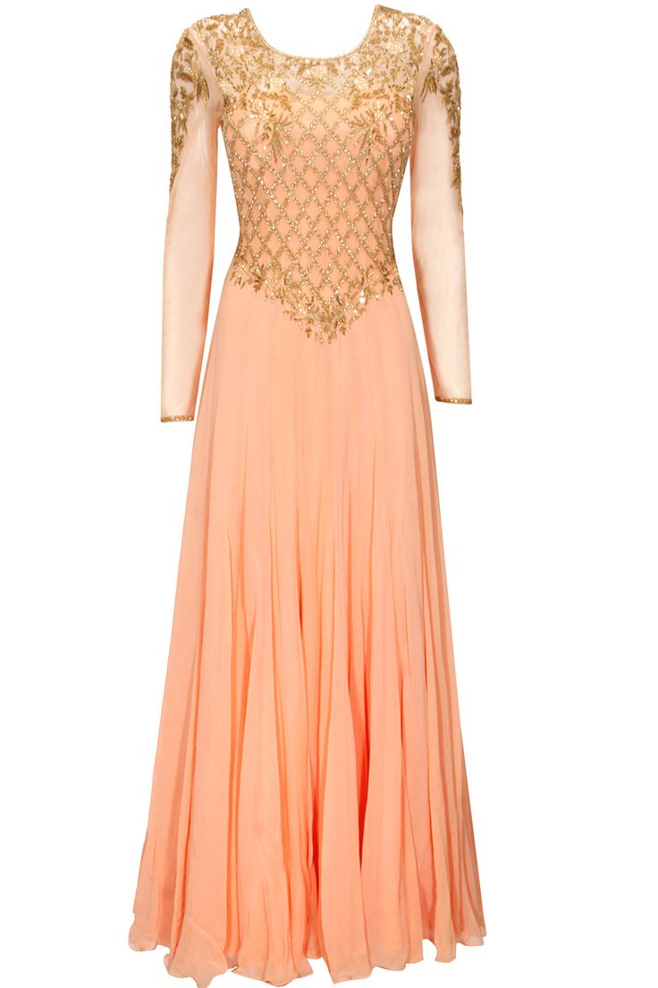 Peach embroidered anarkali set available only at Pernia's Pop-Up Shop.