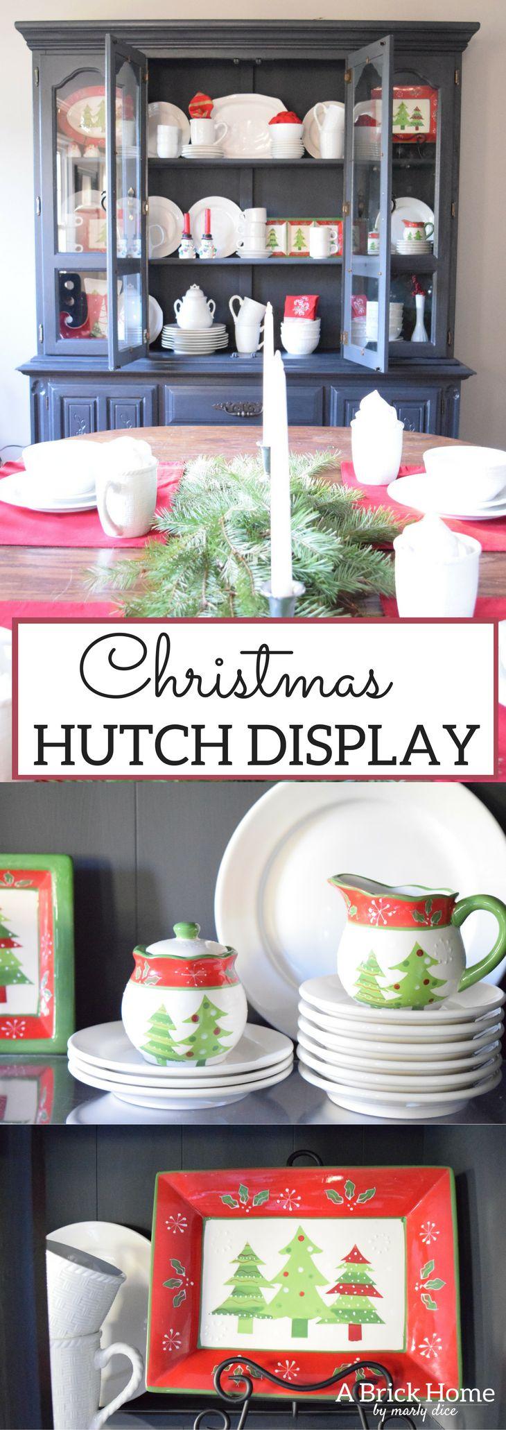 A Brick Home: Christmas hutch display, christmas hutch decor, christmas hutch decorating ideas, Christmas china cabinet, Christmas china cabinet decor, Christmas hutch ideas