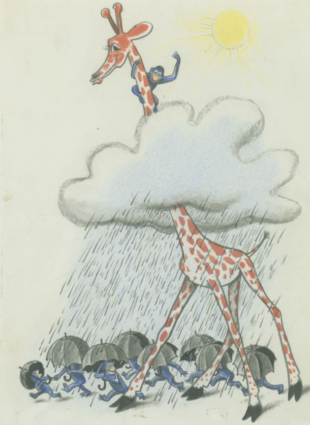 """""""George climbed up until he was in the sunshine, high above the rain cloud"""", final illustration for Raffy and the 9 Monkeys, 1939, H.A. and Margaret Rey"""