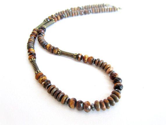 Mens tiger eye necklace mens gemstone beaded by Bravemenjewelry