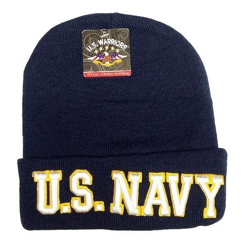 U.S. Military U.S. NAVY Emblem Black Basic Knit Long Beanie Hat Cap