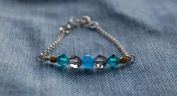 Sterling silver bracelet with swarovski crystals by AasJewelry