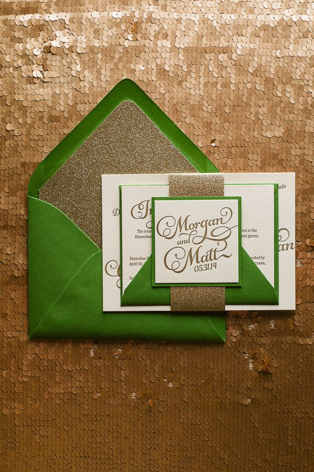 KATHRYN Suite Glitter Package, green and gold, gold glitter, glitter wedding invitations, letterpress wedding invitations, irish theme wedding invitations
