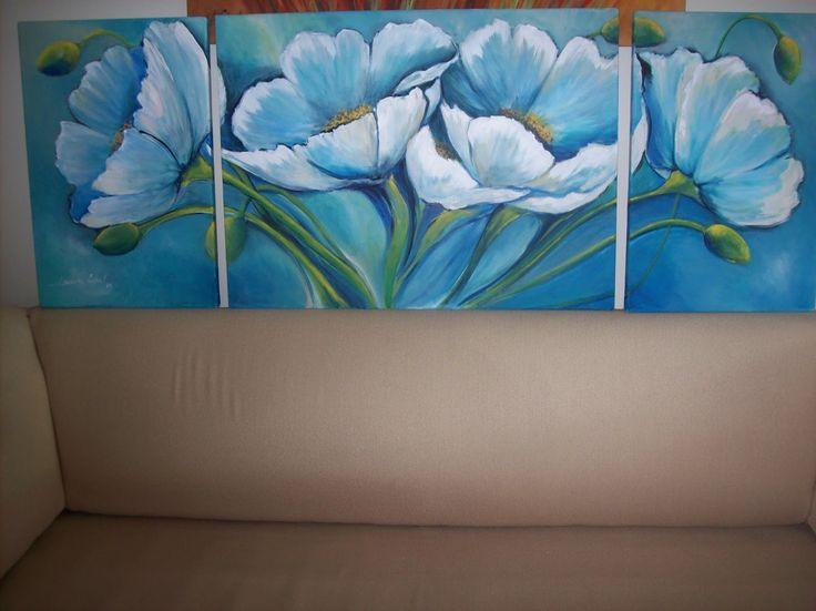 cuadros de flores en azul - Buscar con Google