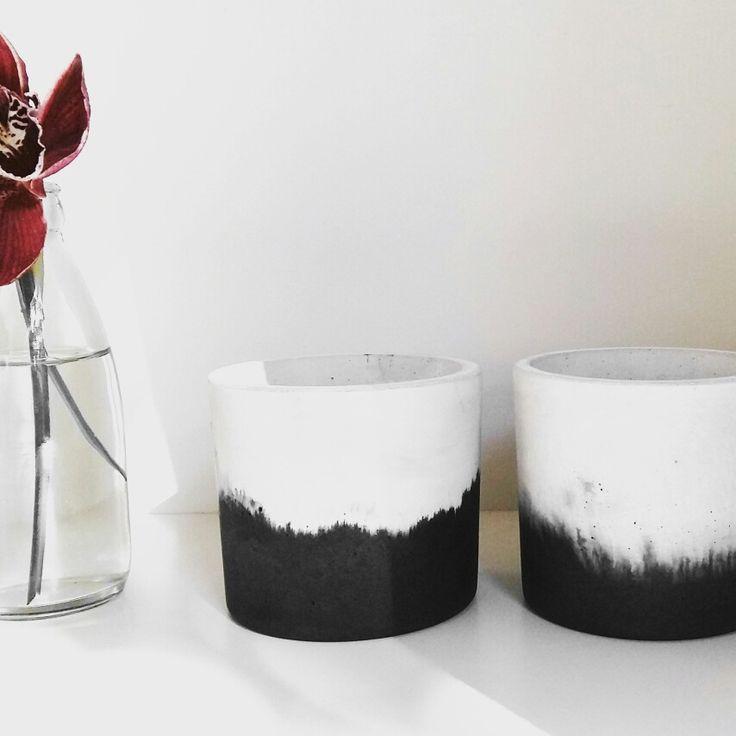 Molten Collection concrete vessel black + white