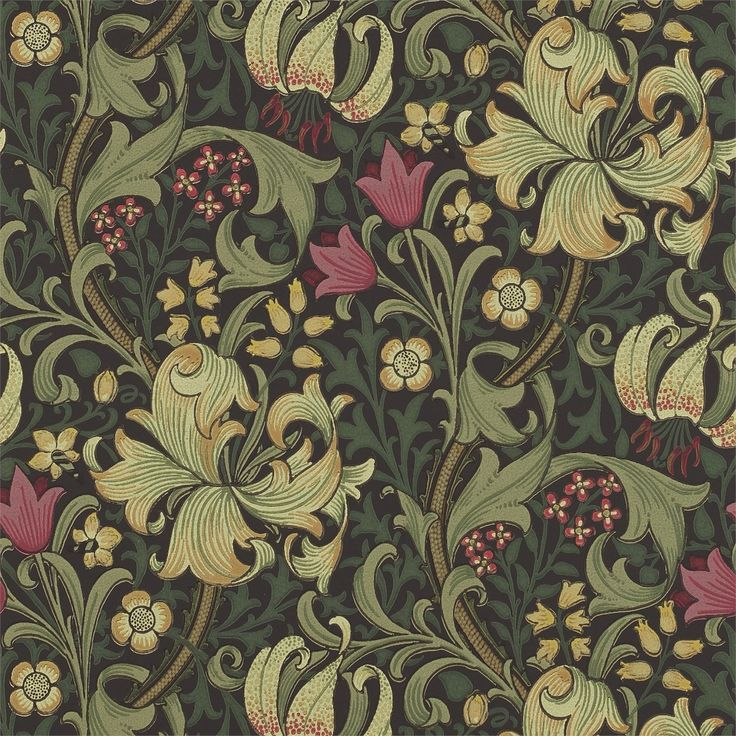 william morris golden lily charcoalolive dining room