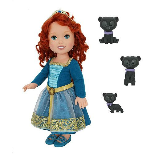 """Disney Princesses baby dolls: Merida from Brave. These are 13"""" dolls, just smaller than American Girl. They are a better size for my 4-year old granddaughter. The American Girl booster chair and the glasses fit this doll perfectly. Really cute, a bit lower quality hair, my gd loves this doll. Also less than $25 each.  Making clothes for her! Fun!"""