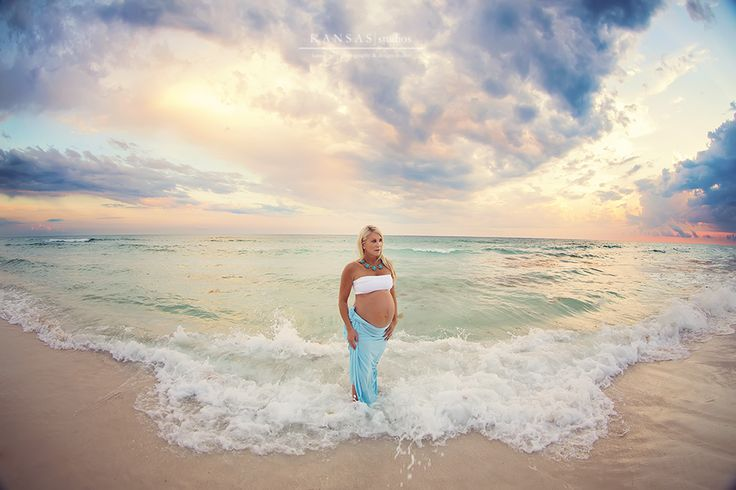 Beautiful maternity photography on the beach at sunset.  Photo by Kansas Pitts Photography.