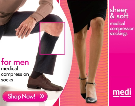 Another source for pressure stockings.  Compression stockings are used often to keep blood from pooling in the lower extremities when someone with POTS has to stand.  It can lessen or prevent fainting from the blood pressure dropping. The full pantyhose works best.