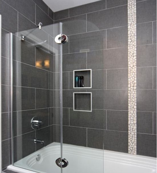 Bathroom Tiles Design Grey : Tile on bathtub shower surround house ideas