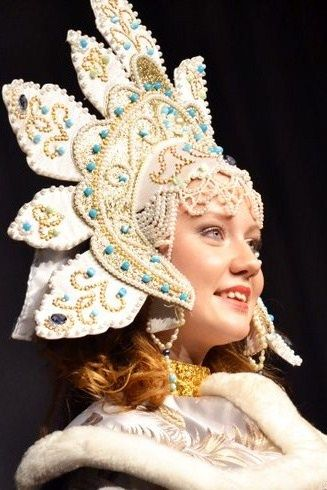 Russian costume, kokoshnik headdress.