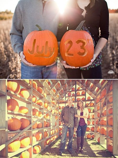 This is perfect! Take the pictures a year or so before so that you can still have fall pictures in your invites. fall wedding save the date :)