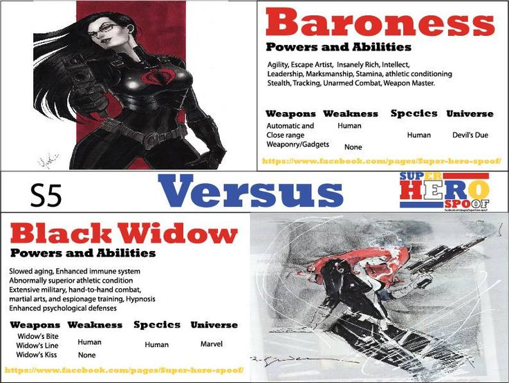As these two fem-fatales face off, in this battle who's bite will prove to be more venomous and-or poisonous. #BlackWidow versus #Baroness. Who will win and why? Powers and abilities are posted... #superherospoof