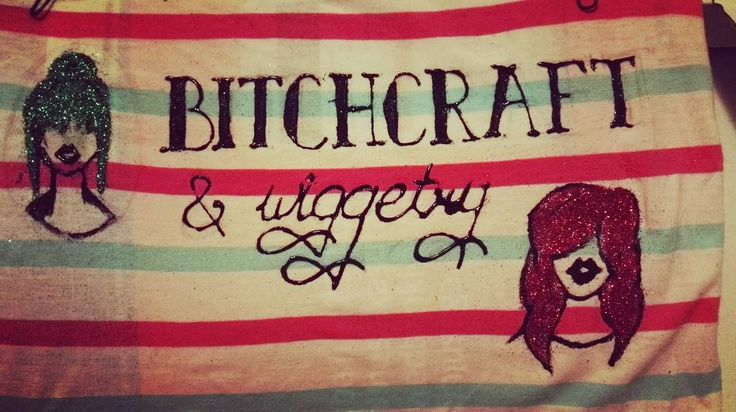 I am #proud of how my #bitchcraftandwiggetry tank turned out. #firsttime using #fabricpaint and I would say #nothalfbad . A #shirt for a #queen !  #art #red #green #tanktop #glitter #shimmer #lettering