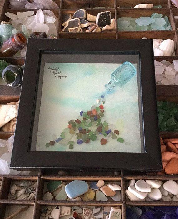Treasures  Framed Sea Glass Art  Nautical by MainlyMaineSeaglass