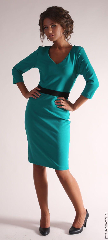 Купить Платье из джерси арт.5217 - темно-синий, однотонный, дизайнерская одежда, дизайнерское платье