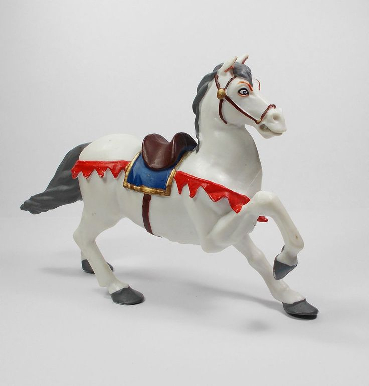 Papo - Horse Toy Figure - Medieval - Knights - Papo 1999 - White Horse E.L.C.