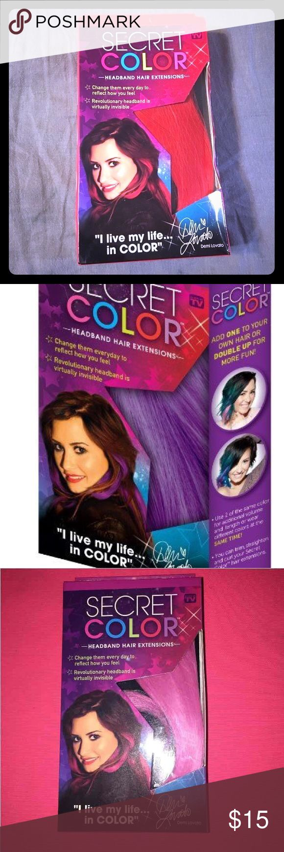 Secret Hair Extensions invisible by Demi Lovato 💝 I have pink, red, and purple. I have illustrated one picture to show how easy it is you just slip under your hair . I'm a hairdresser for a living, and people love these. Much easier than adding these as a permanent color. They are 14 inches long . These also can be styled, curled or straightened. So if you want more than one I will create a listing for you. U will love these. Colors left are red and pink .  Purple is sold 💜. Only ❤️💗left…