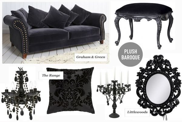 Black Baroque home decor. Be careful not to get 'too goth'