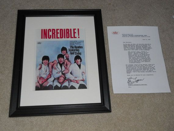 Here is a superb and mint Mini-Poster Reprint approx 8 by 10 in a black, glass-fronted frame measuring 14 by 16.5. Beatles Yesterday and Today