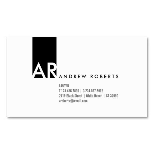 Modern white Profile Card design with a black vertical stripe with monogram on it. All the information are on the front side. The back side has monogram on with the opposite color scheme as on the front side which makes it very cool. This contemporary Professional Minimalist Business Card Template looks clean and fresh, it's sleek look is very effective and eye catching, perfect to stand out from a pile of other business cards. If you would like to have this design in any other color feel…