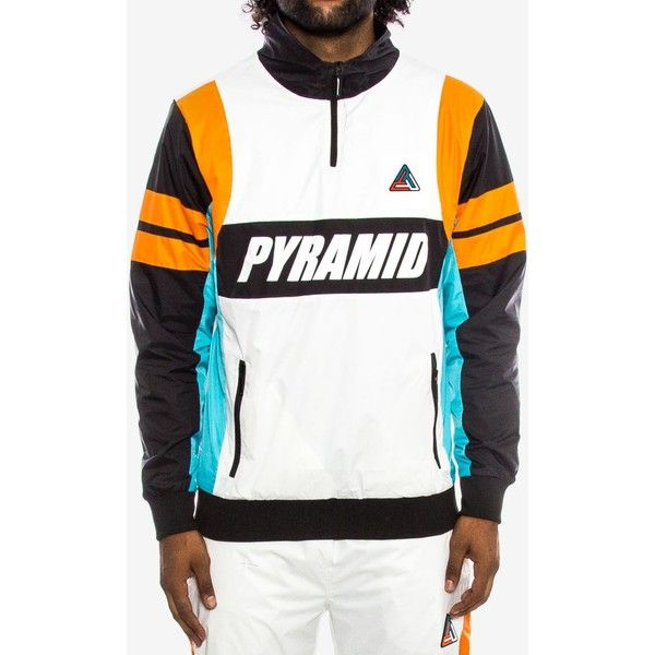 Black Pyramid Men's Colorblocked Track Jacket (€83) ❤ liked on Polyvore featuring men's fashion, men's clothing, men's activewear, men's activewear jackets, white, mens track jacket and mens track tops