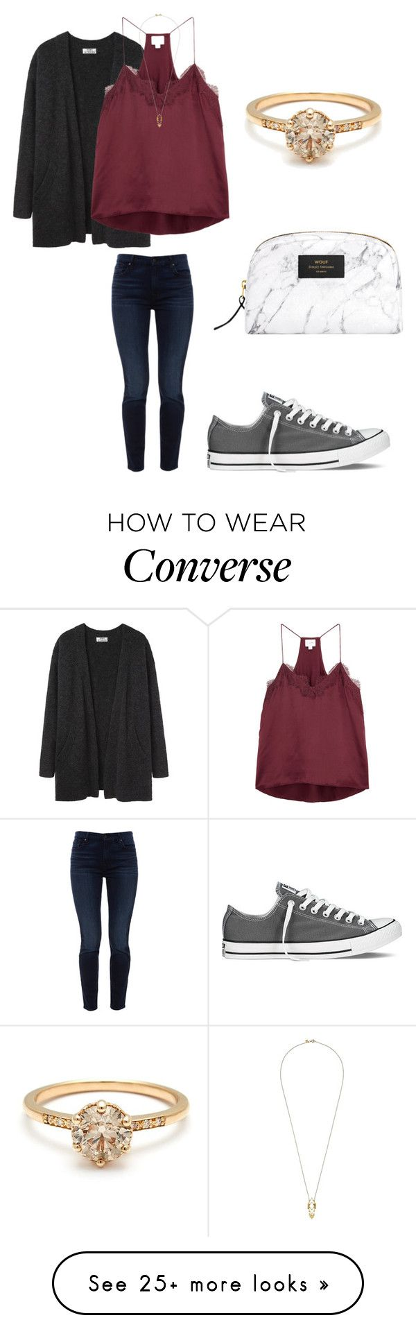 """My dad's birthday"" by sarahfohlen on Polyvore featuring Acne Studios, Jen7, Cami NYC, Converse, Gorjana, Winter and 2k18"
