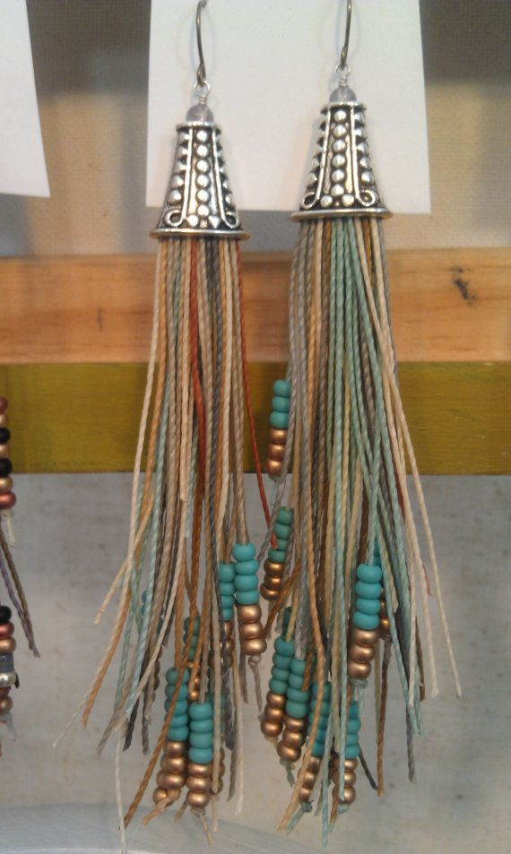 I like big earrings: Tassel Earrings, Vegan Feather, Bead Earrings, Fringe Earrings, Silver Vegan