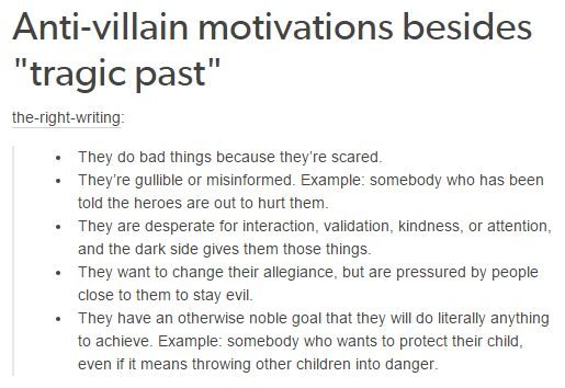 Anti-Villain Motivations