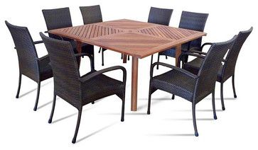 Vifah - Nine Piece Outdoor Dining Set with Square Table - eclectic - patio furniture and outdoor furniture - other metro - teakwickerandmore.com