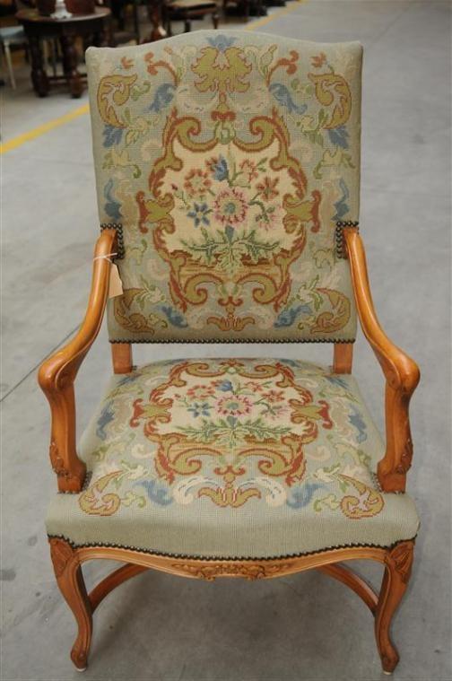 French Louis XV Needlepoint Arm Chair  Needlepoint