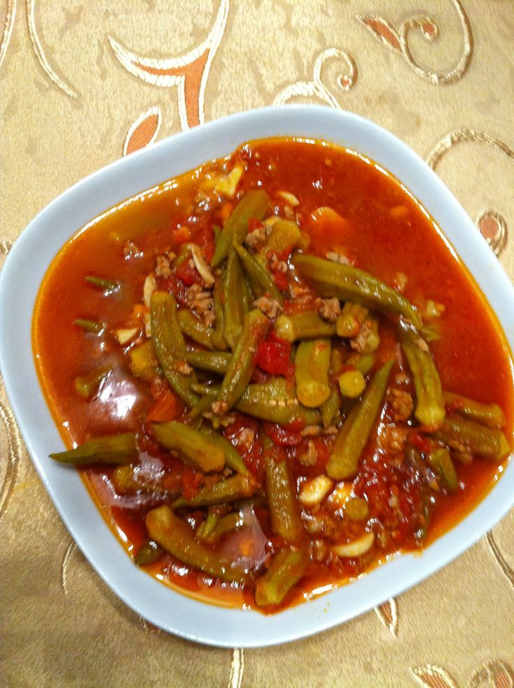 Okra bamieh middle eastern food yummy food pinterest for Arabic cuisine food