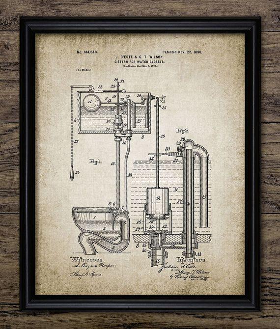 WC stortbak Patent Print  Vintage 1898 Toilet door InstantGraphics