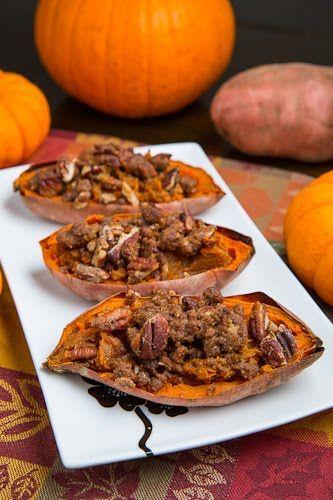Twice Baked Bourbon Sweet Potato with Pecan Streusel (aka Individual Sweet Potato Casserole)