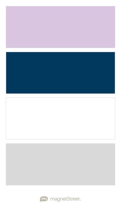 Lilac, Navy, White, and Silver! Wedding Color Palette - custom color palette created at MagnetStreet.com