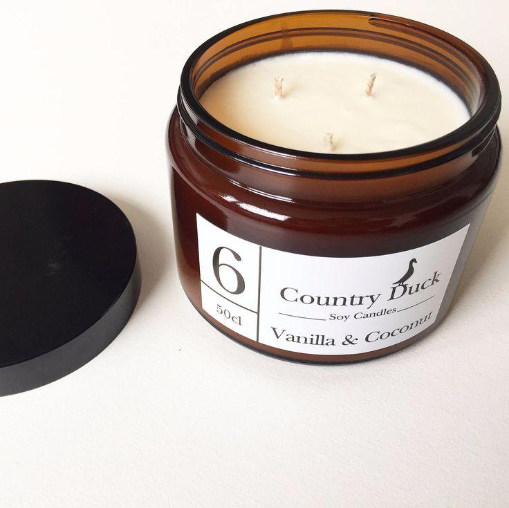 Vanilla & Coconut 500ml Amber Jar Soy Wax Candle. Triple