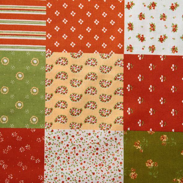 Bavlněná látka patchwork terakota