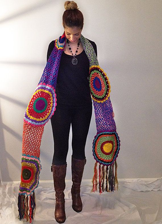 Multicolor Crocheted Circle Scarf by subrosa123 on Etsy, €70.00