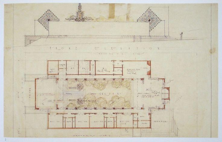 Lloyd wright 39 s sowden house floorplan google search for Frank lloyd wright floor plan